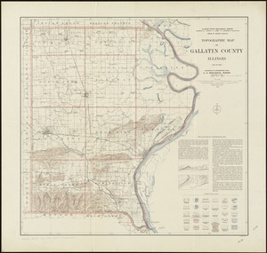 Topographic map of Gallatin County, Illinois