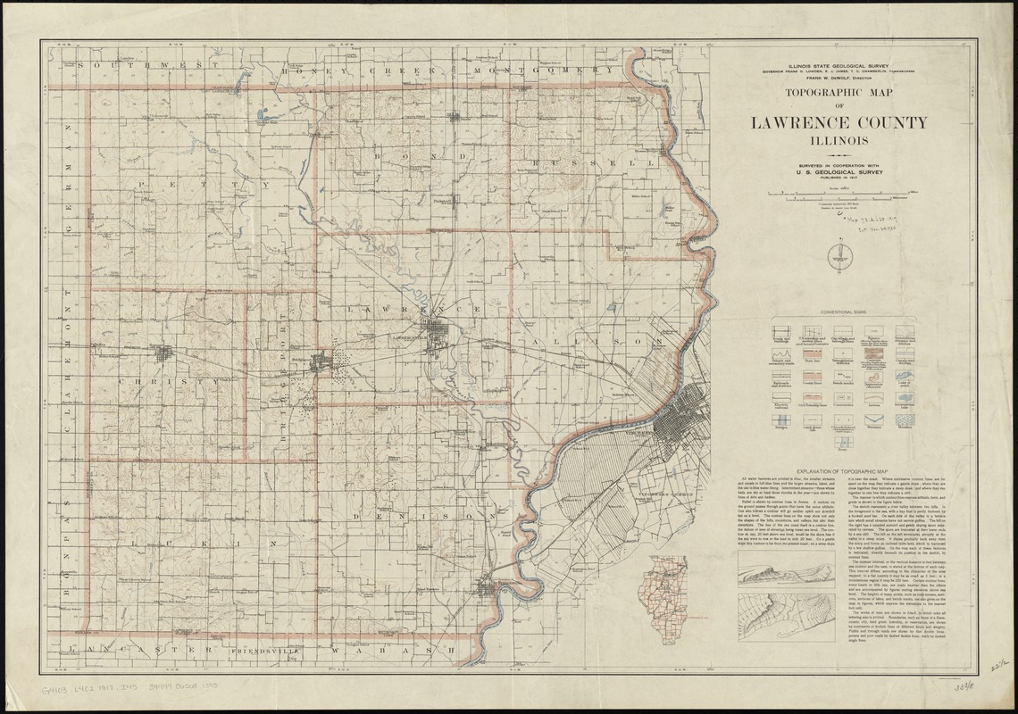 Topographic map of Lawrence County, Illinois