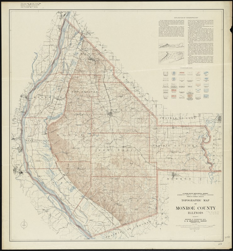Topographic Map Of Monroe County Illinois Digital Commonwealth
