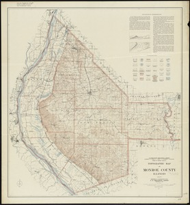 Topographic map of Monroe County, Illinois