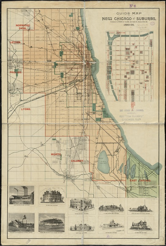 Guide map of new Chicago and suburbs