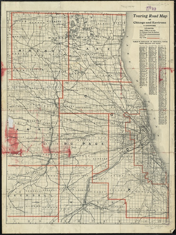 Touring road map of Chicago and environs