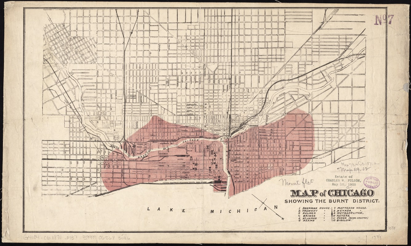 Map of Chicago showing the burnt district - Norman B. Leventhal Map Chicago Fire Map on