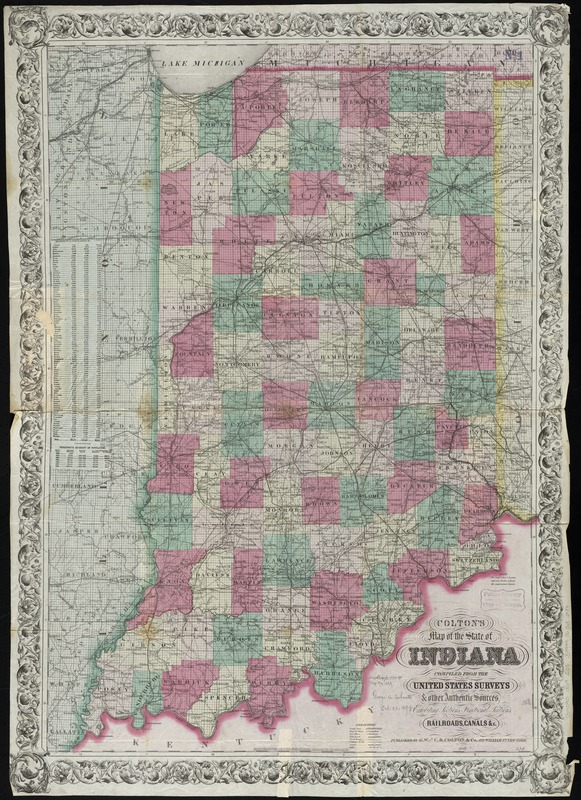 Colton\'s map of the state of Indiana - Digital Commonwealth