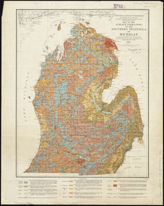 Map of the surface formations of the Southern Peninsula of Michigan