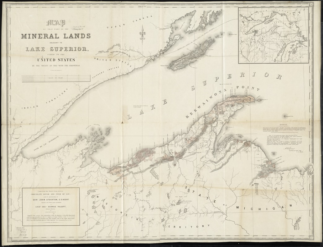 Map of that part of the mineral lands adjacent to Lake Superior, ceded to the United States by the treaty of 1842 with the Chippewas
