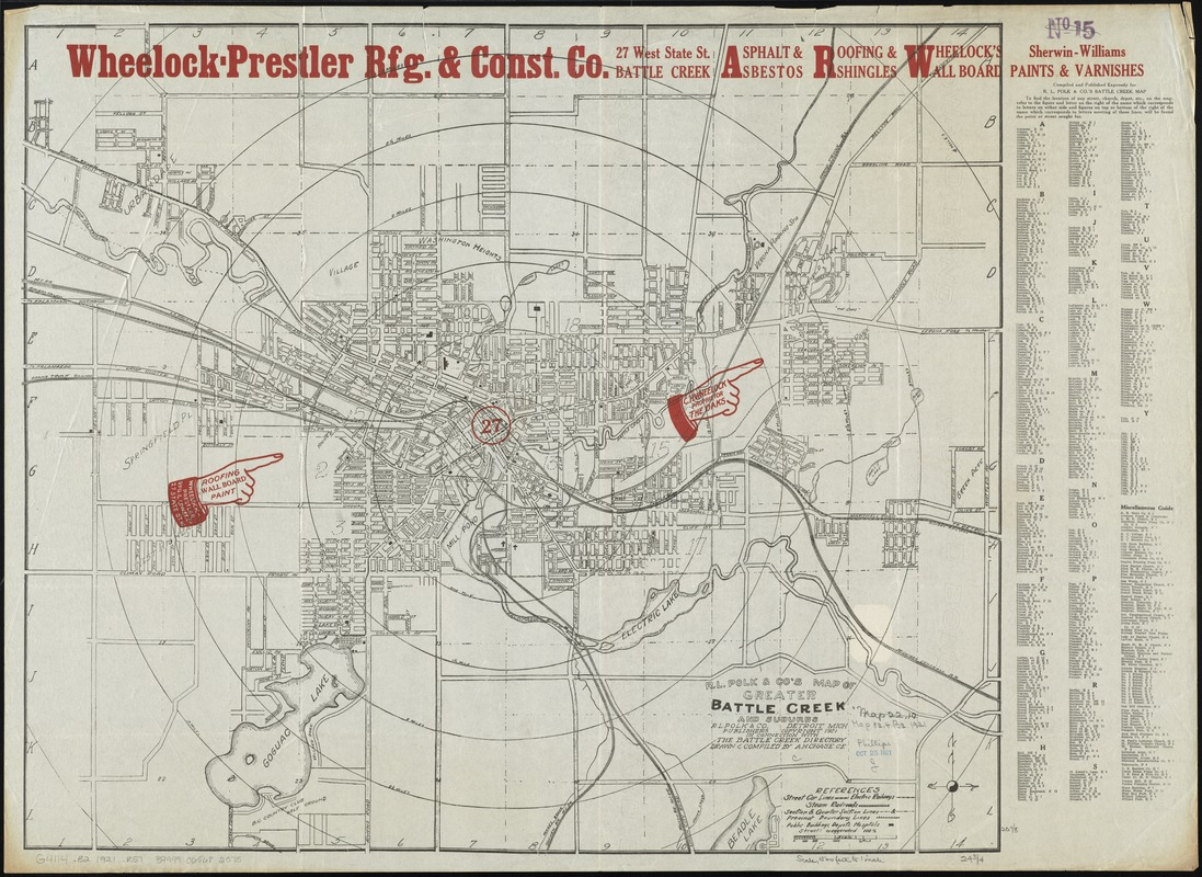 R.L. Polk & Co's map of greater Battle Creek and suburbs