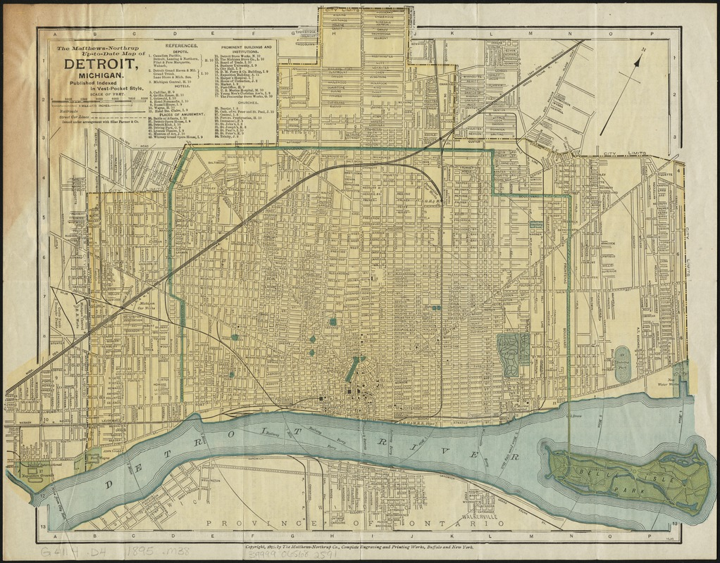 The Matthews-Northrup up-to-date map of Detroit, Michigan - Norman on map of delaware, map of new york, map of midwest, map of chicago, map of harper woods, map of great lakes, map of miami, map of olivet, map of san jose, map of 8 mile, map of caro, map of giants, map of highland park, map of vassar, map of boston, map of pauls valley, map of toronto, map of tampa, map of auburn hills, map of michigan,