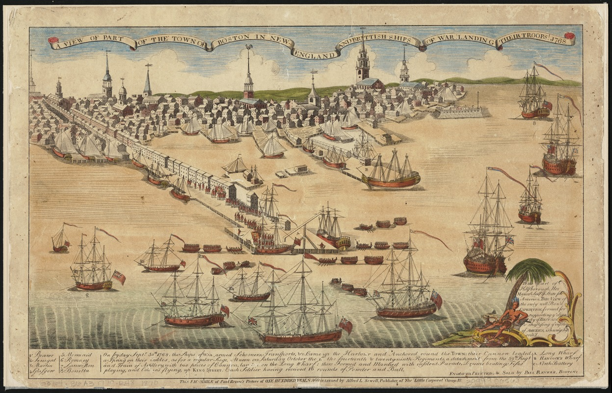 A view of part of the town of Boston in New-England and Brittish[sic] ships of war landing their troops! 1768
