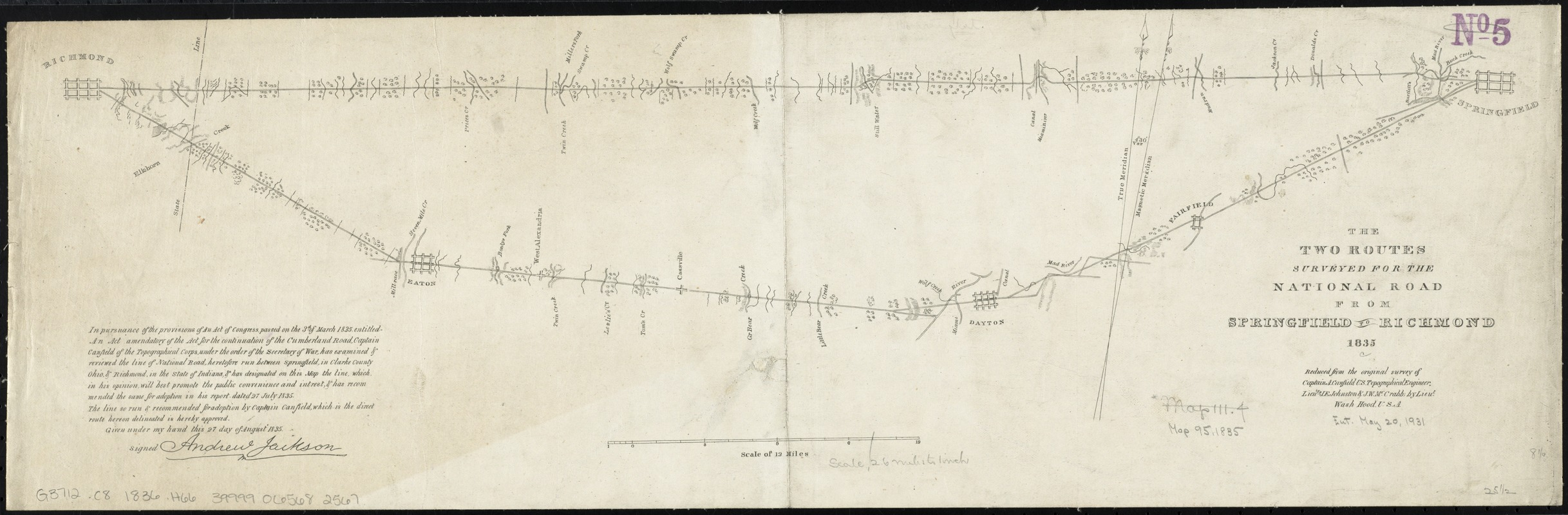 The two routes surveyed for the National Road from Springfield to Richmond, 1835