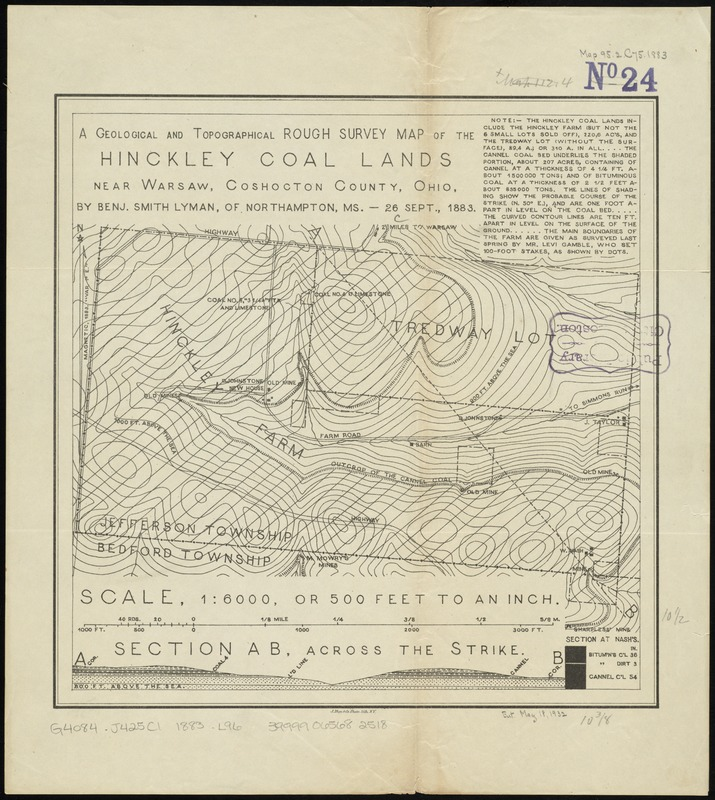 A geological and topographical rough survey map of the Hinckley Coal Lands near Warsaw, Coshocton County, Ohio