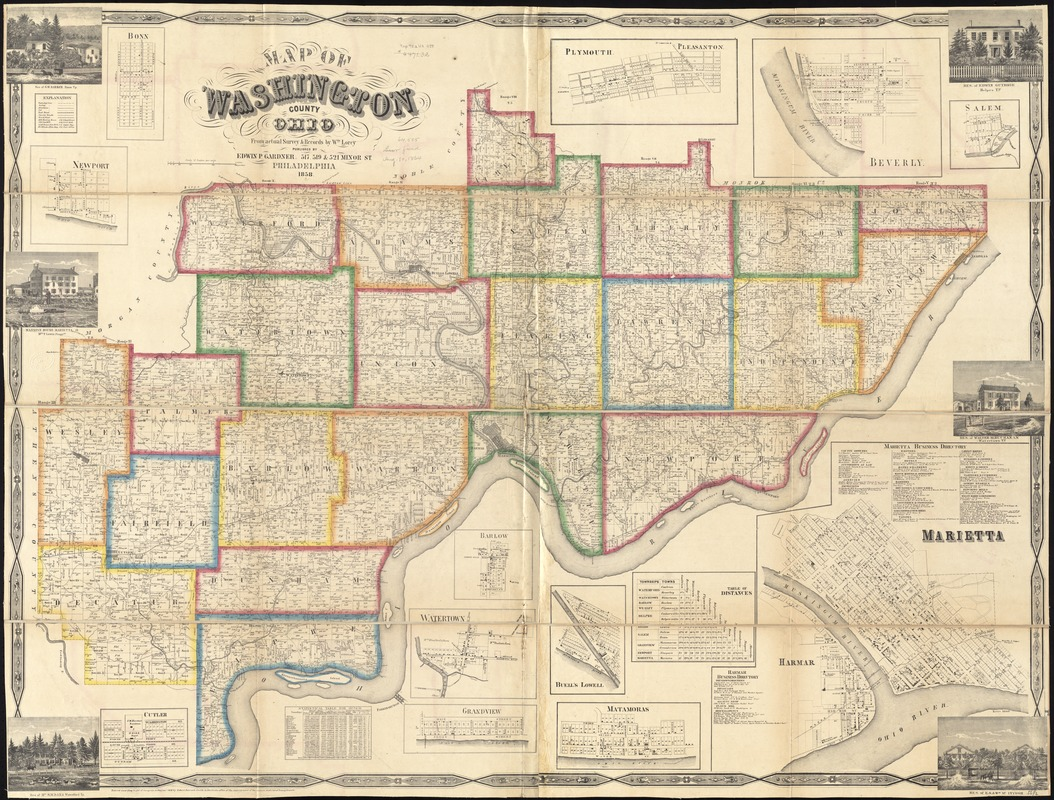 Map Of Washington County Ohio Digital Commonwealth