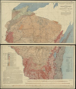 Map of Wisconsin showing geology and roads
