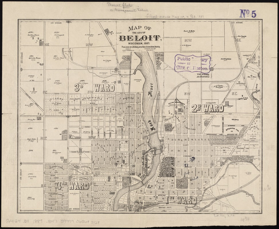 Map of the city of Beloit, Wisconsin, 1887