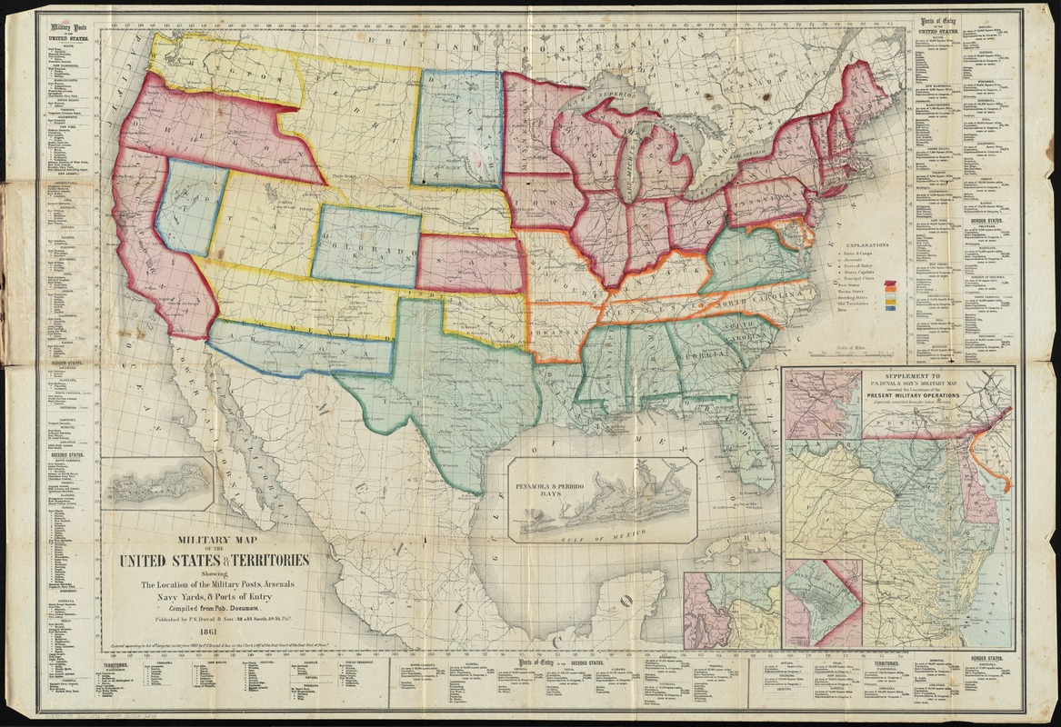 Military map of the United States  territories showing the