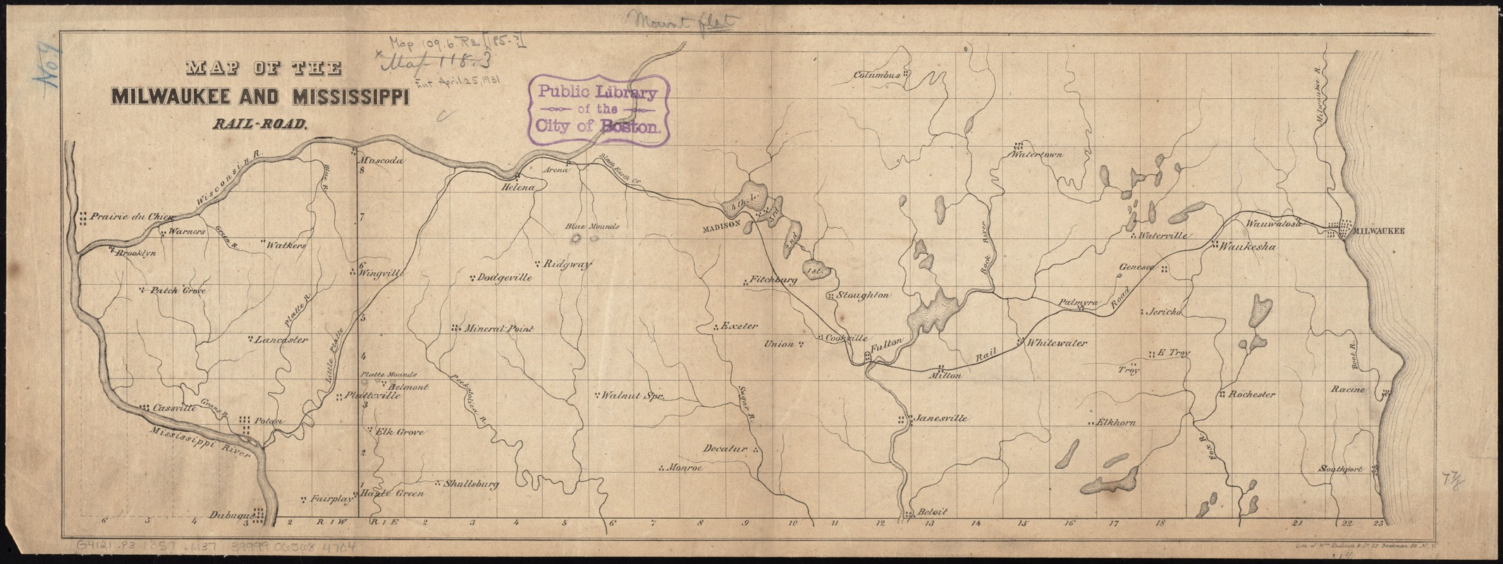 Map of the Milwaukee and Mississippi Rail-Road