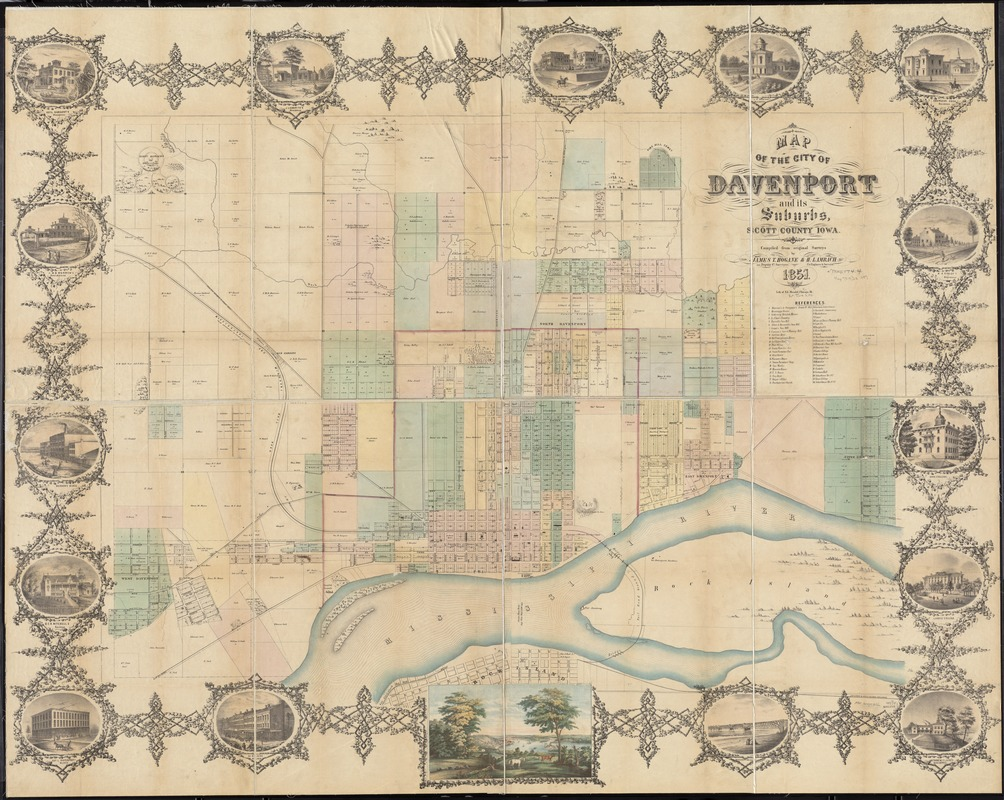 Map of the city of Davenport and its suburbs Scott County Iowa