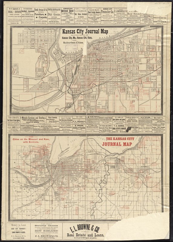 Kansas City journal map showing towns of Kansas City, Mo., Kansas City, Kans., and suburban cities ; the cities on the Missouri and Kaw, with environs