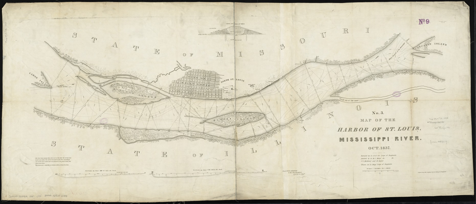 Map of the harbor of St. Louis, Mississippi River, Oct. 1837