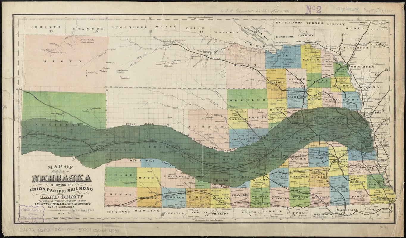 Map of Nebraska showing the Union Pacific Railroad land