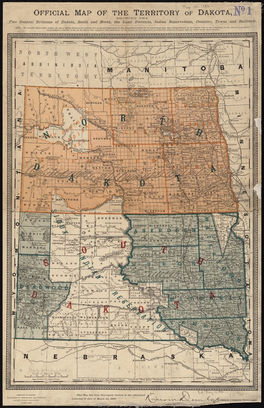 Official map of the territory of Dakota, showing the two general divisions of Dakota, South and North, the land districts, Indian reservations, counties, towns and railroads