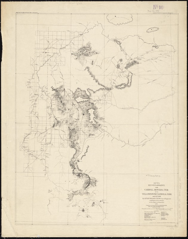 Map of a reconnaissance from Carroll Montana Ter. to the Yellowstone National Park and return by Captain William Ludlow, Corps of Engineers, Chief Engineer Dept. of Dakota, in July, August and September 1875
