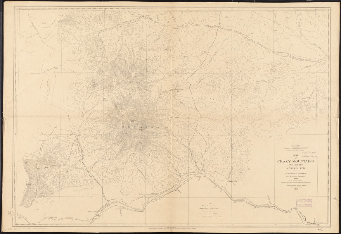 Map of Crazy Mountains and vicinity, Montana Ter