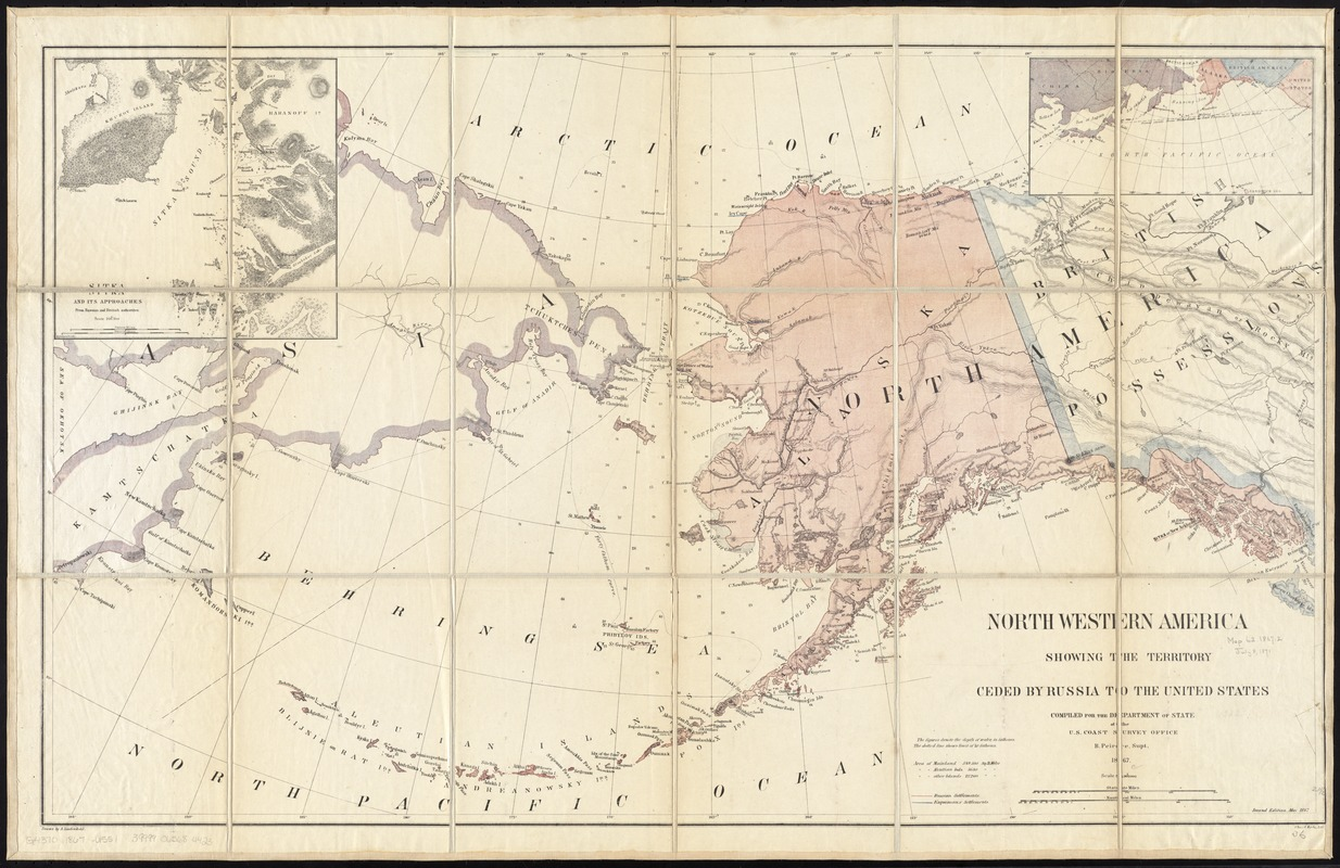 North western America showing the territory ceded by Russia to the United States
