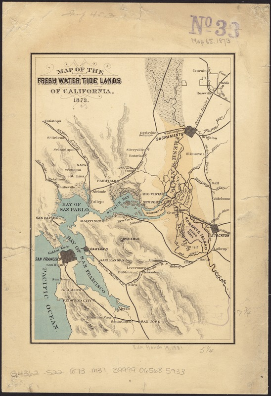 Map of the fresh water tide lands of California