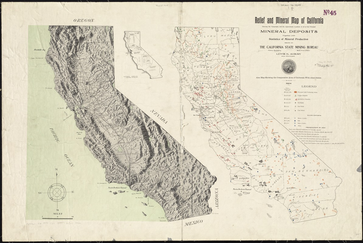 Relief and mineral map of California showing the topography and the approximate locations of all the principal mineral deposits together with statistics of mineral production