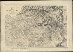 Map of a portion of the Sierra Nevada adjacent to the Yosemite Valley