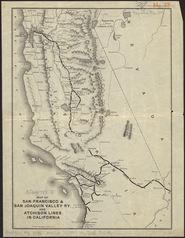 Map of San Francisco & San Joaquin Valley Ry. and Atchison lines in California