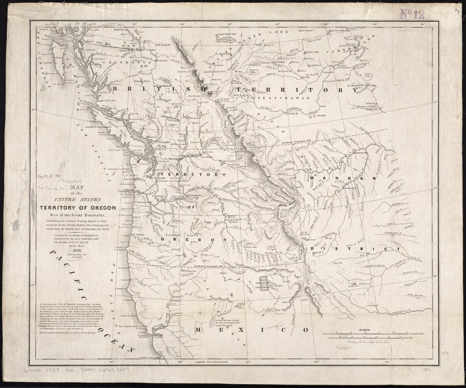Map of the United States Territory of Oregon west of the Rocky