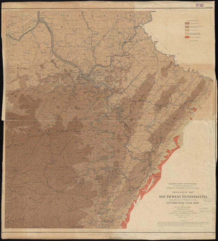 Geological map of south-west Pennsylvania, with special reference to the Pittsburgh coal bed