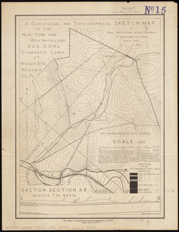A geological and topographical sketch map of the New York and Westmoreland Gas Coal Company's lands, at Manor Sta., Westm'd Co., Pa