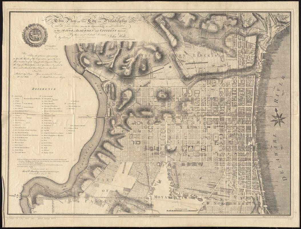 This plan of the city of Philadelphia and it's [sic] environs, (shewing the improved parts,) is dedicated to the mayor, aldermen and citizens thereof
