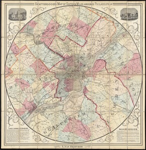 Scattergood's map of sixteen miles around Philadelphia