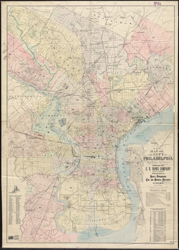 New map of the city of Philadelphia from the latest city surveys