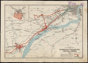 Map showing electric railway lines of the Wilmington and Philadelphia Traction Company