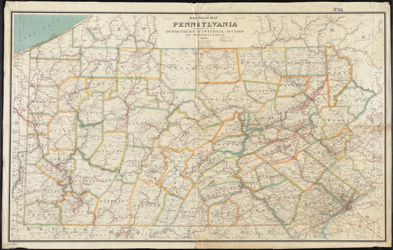 Rail road map of Pennsylvania - Digital Commonwealth Detailed Map Of Pa on