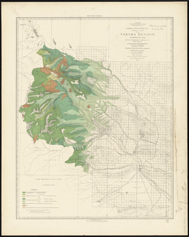 Forest map of the Yakima Region, Washington Ter. showing the predominant elements of the forest covering