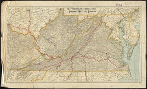 Map of Virginia, West Virginia and Ohio