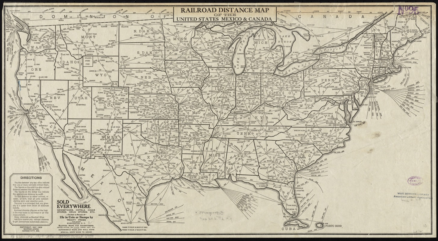 Railroad distance map of the United States, Mexico & Canada ...