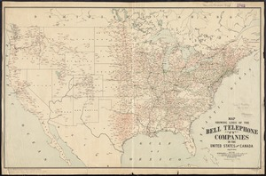 Map showing lines of the Bell telephone companies in the United States and Canada