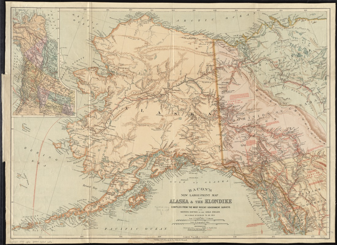image relating to Printable Maps of Alaska titled Bacons fresh significant-print map of Alaska the Klondike