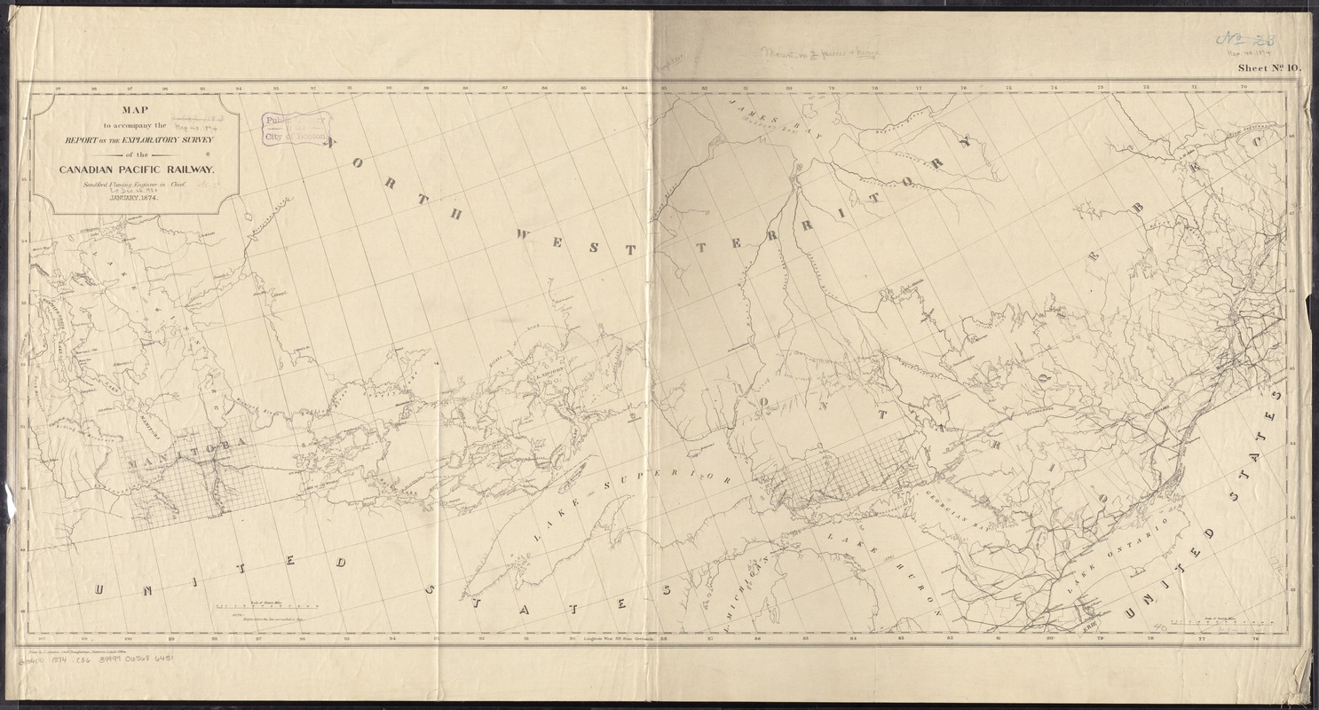 Map to accompany the report on the exploratory survey of the Canadian Pacific Railway
