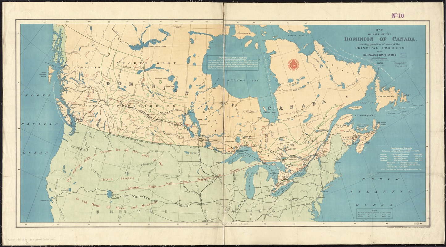 Map of part of the Dominion of Canada, shewing location of some of the principal products, also railway & water routes