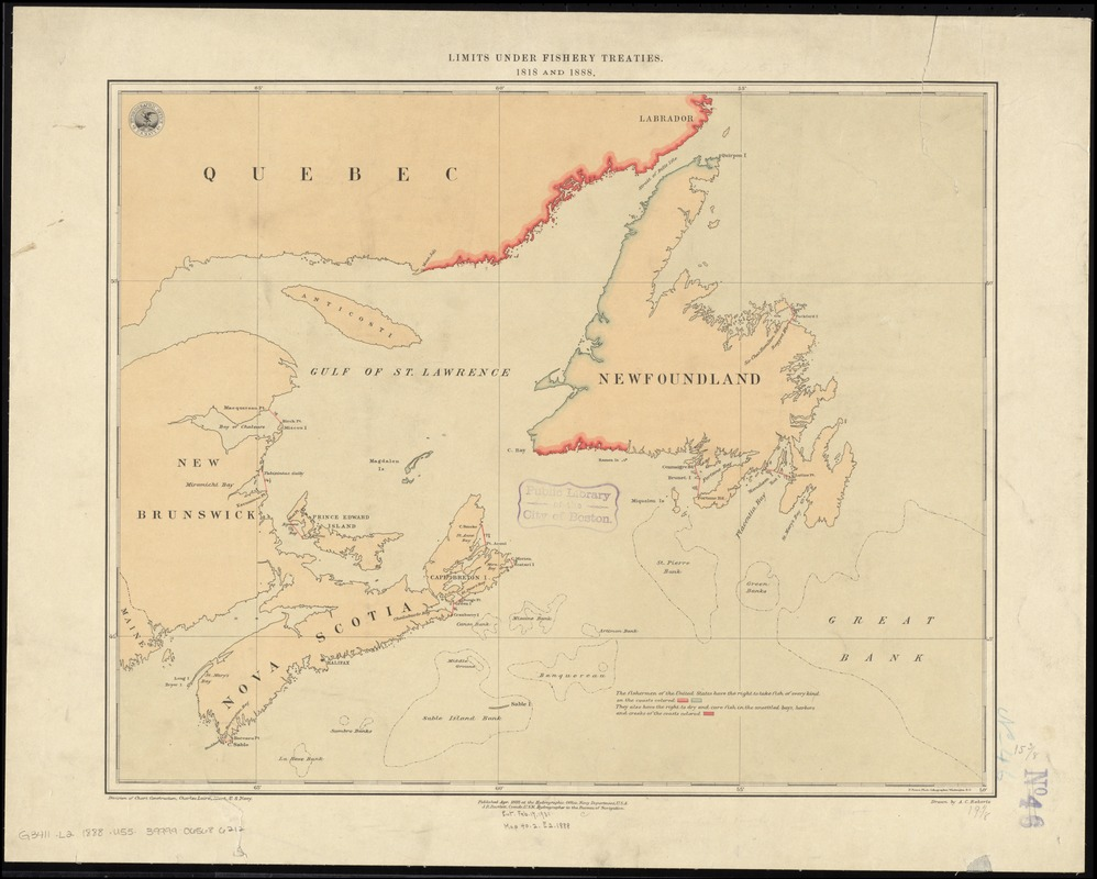 Limits under fishery treaties, 1818 and 1888