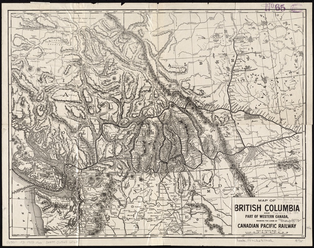 Map of British Columbia and part of western Canada, showing the lines and lands of the Canadian Pacific Railway