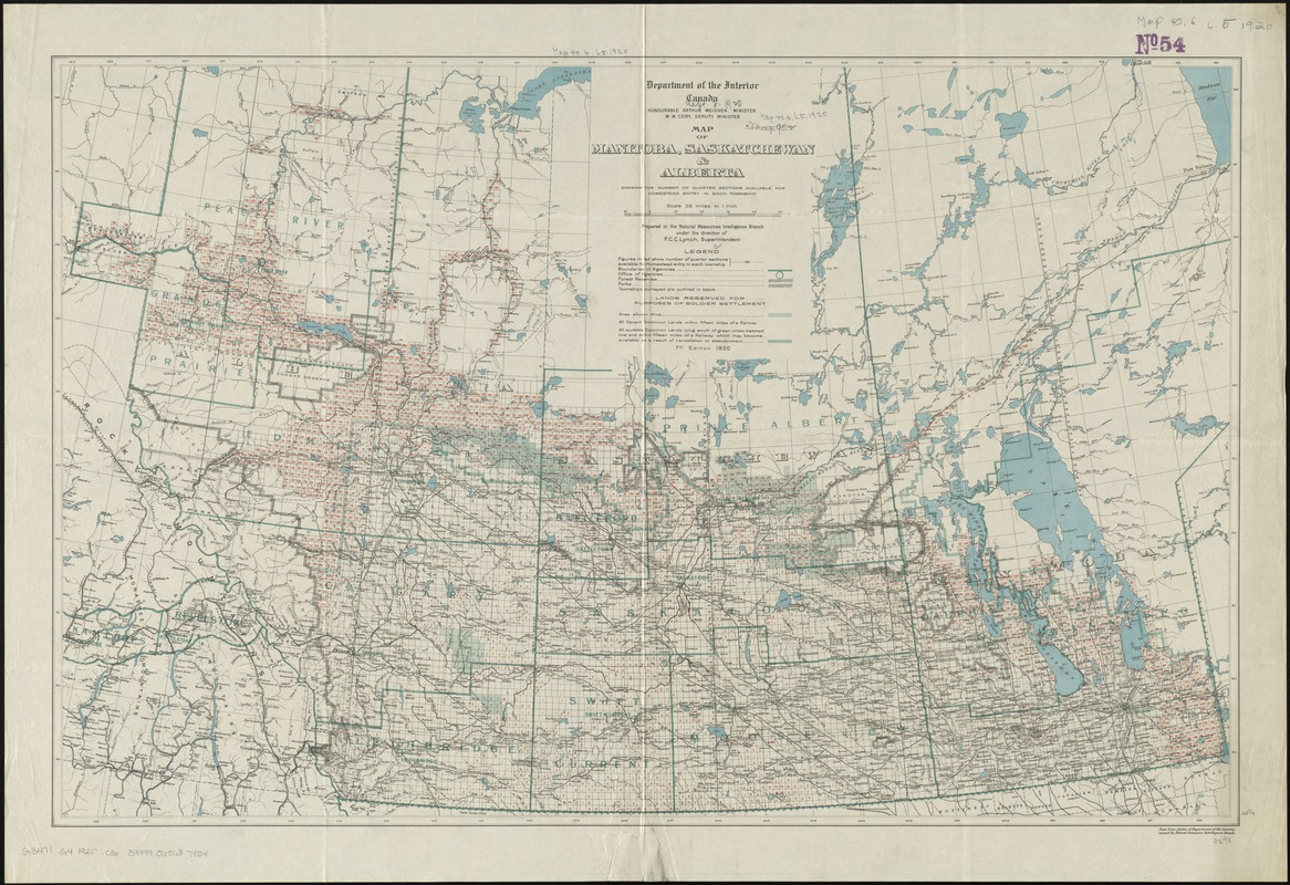 Map of Manitoba, Saskatchewan and Alberta